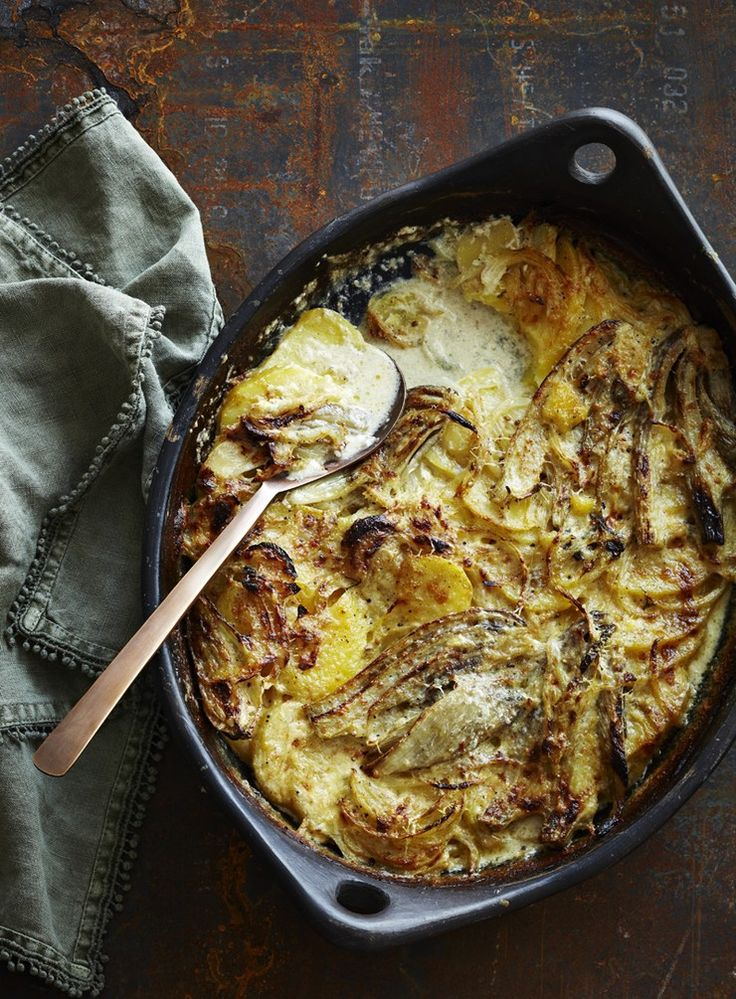Fennel, Potato and Onion Gratin with Anchovy Cream