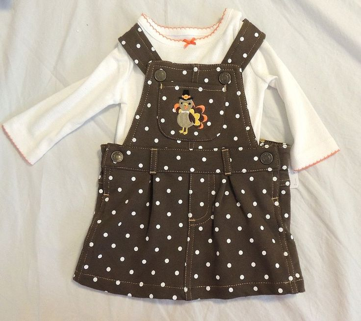 New Carters Baby Girl First Thanksgiving Jumper Dress Turkey Sizes 3 & 6 Months  #Carters