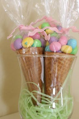Oh for Sweetness Sake: tall clear treat bags, a few cotton balls inside the sugar cone and peanut butter M on top. A little Easter grass in the bottom of the bag. Tied with some leftover rick rack.