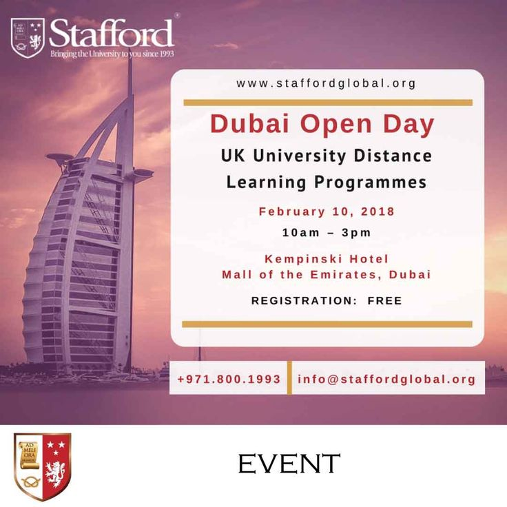 | Dubai Open Day - UK University Distance Learning Programmes | This Saturday, February 10th, 2018 from 10am to 3pm at the Kempinski Hotel (Mall of the Emirates, Dubai), our academic consultants will be available to provide a free assessment on a one-to-one basis and identify your eligibility to enrol with a top UK University.  Sign up now and don't forget to bring along your CV, Degree certificate and mark sheets/transcripts.