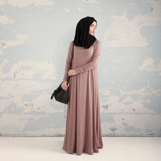 INAYAH | Dusty Pink Tailored Flare #Abaya + Black Jersey #Hijab www.inayahcollection.com