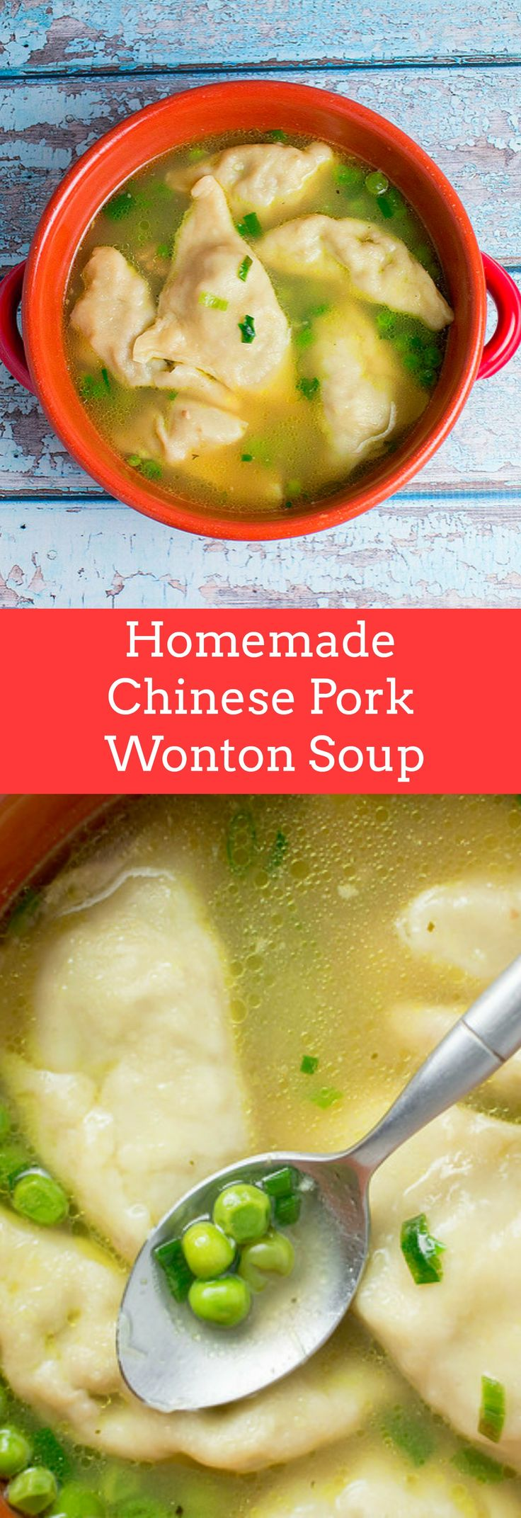 Homemade Chinese Pork Wonton Soup recipe.  This tastes just like takeout but is much healthier!