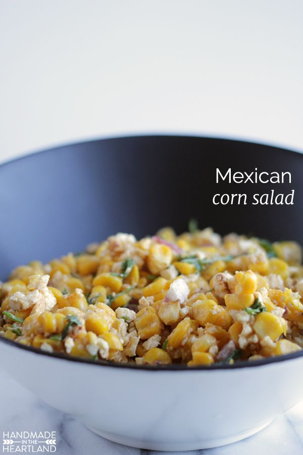 Mexican Corn Salad Recipe. This salad is SO good.  You can grill the corn but for the winter you can also roast it in the oven (how to in post) Great recipe for side dish for bbq or get together. HandmadeintheHeartland.com
