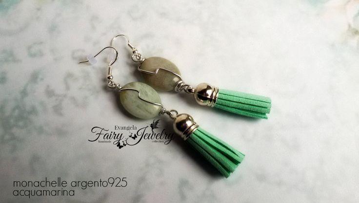 Orecchini lobo pendenti acquamarina nappina verde acqua monachelle argento 925 , by Evangela Fairy Jewelry, 11,00 € su misshobby.com
