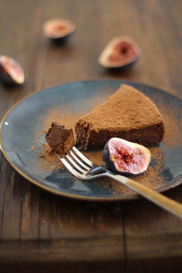Gluten Free Chocolate Fig Cake. Delicious with Unsweetened Almond Breeze.