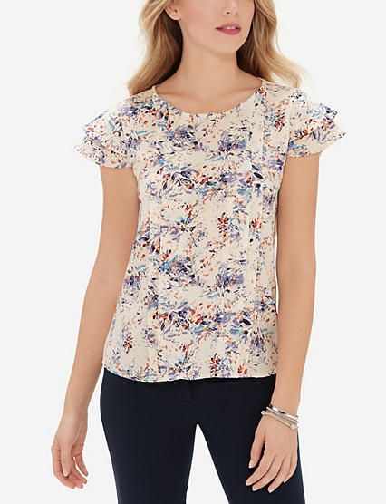 Printed Pleat Front Top from THELIMITED.com