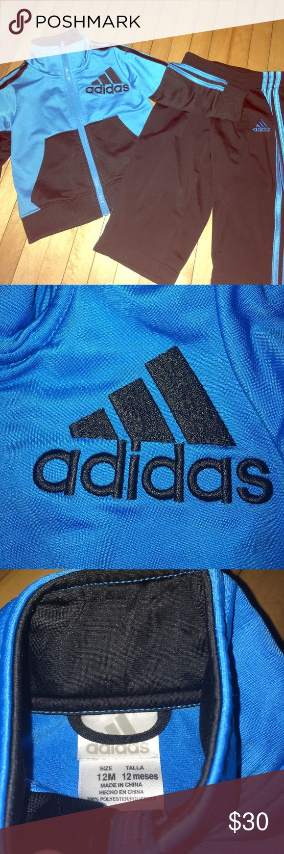 Adidas brand infant 12 month jumpsuit Infant size 12 month jumpsuit. Barely worn or ever used. No pilling. Like new. Maybe worn once. 12 month size. My son grew very fast. Made in China 100% polyester. adidas Matching Sets