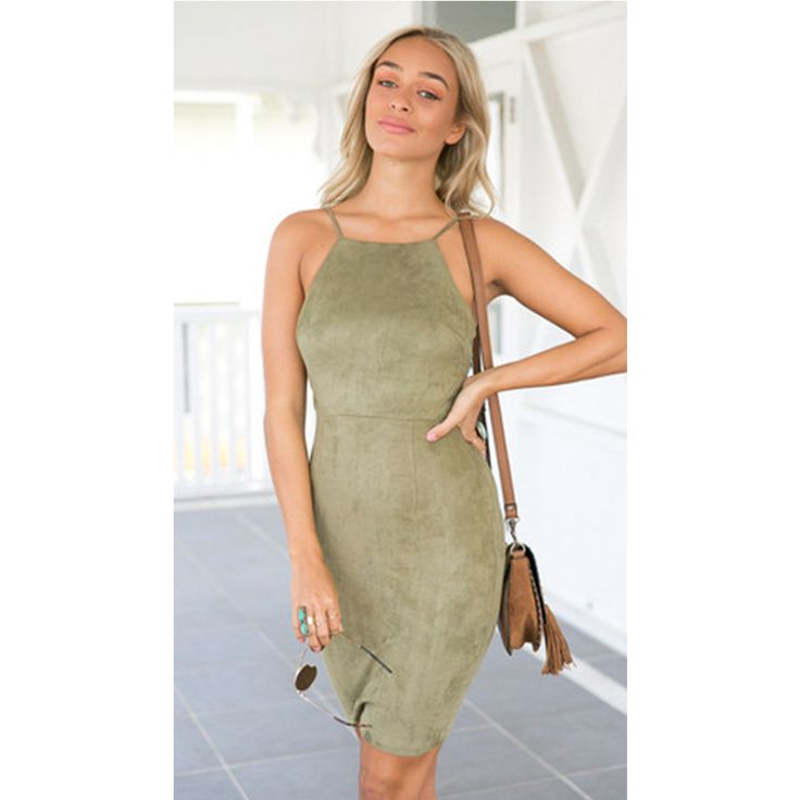 Charlee Cooper Green Suede Lace Up Backless Sleeveless Strappy Mini Dress