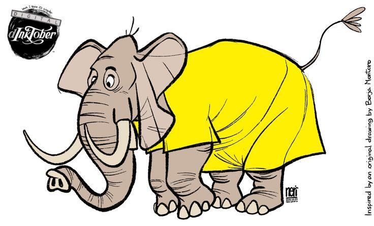 #inktober day 29 of 31. My 3 years old son asked me for a yellow elephant, today, so here it is. Inspired by an original artwork by Borja Montoro. #ink #drawing #digital #dinktober #inktober2016