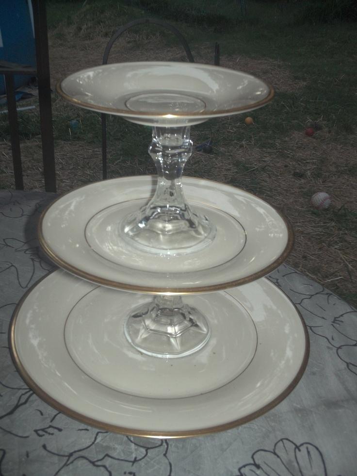 vvintage white and gold 3 tier china tea cake stand 65. Black Bedroom Furniture Sets. Home Design Ideas