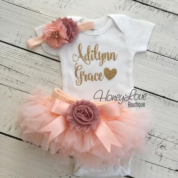 PERSONALIZED SET gold glitter shirt bodysuit, peach tutu skirt bloomers vintage pink flower bow, matching headband hair bow, newborn baby girl take home hospital outfit coming home set by HoneyLove Boutique