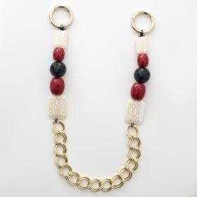 Manere genti bordeaux si beige cu inele aurii - Materiale textile online