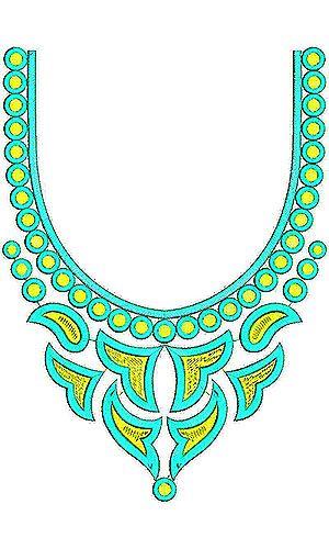 Fashion Motif Neck Embroidery Design