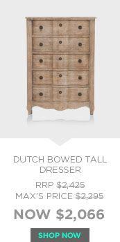 Dutch Bowed Tall Dresser