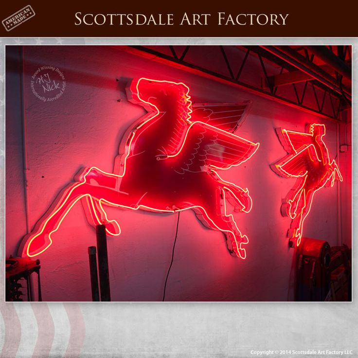 Retro Neon Signs Mobil Gas Pegasus Flying Horse Sign