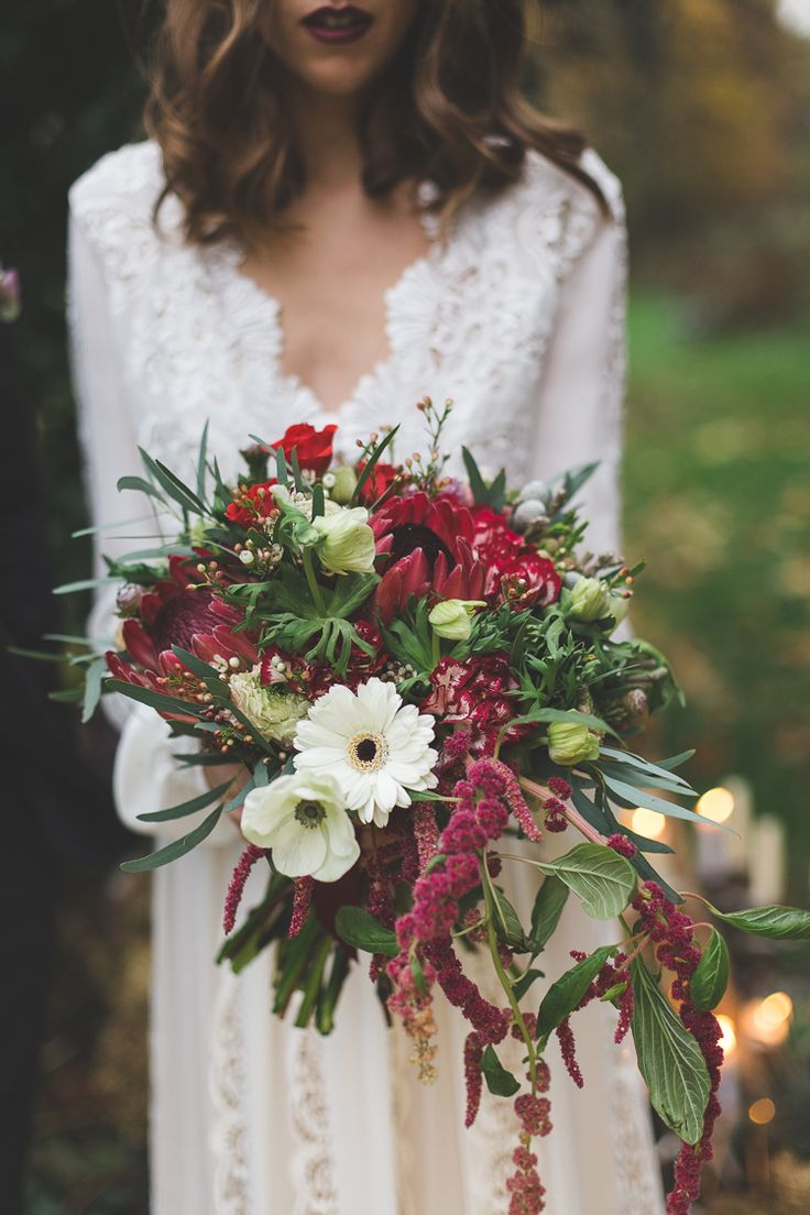 776 best autumn time bouquets images on pinterest flower bouquet flowers bride bridal red greenery foliage protea large trailing magical autumn outdoorsy woodland wedding ideas izmirmasajfo