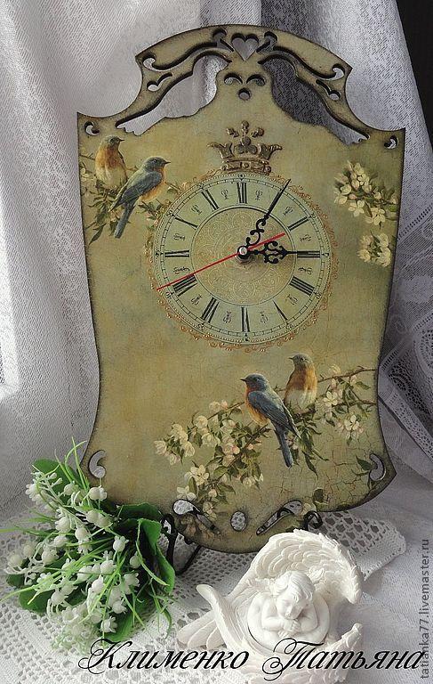 "Купить Часы настенные ""Весна в саду"" - часы настенные, Декупаж, серый, часы, птицы"