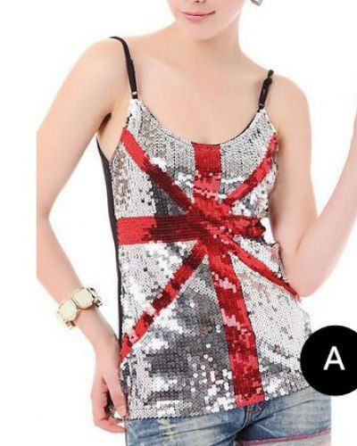 British flag sequin tank top American flag cami tops for teenage girls