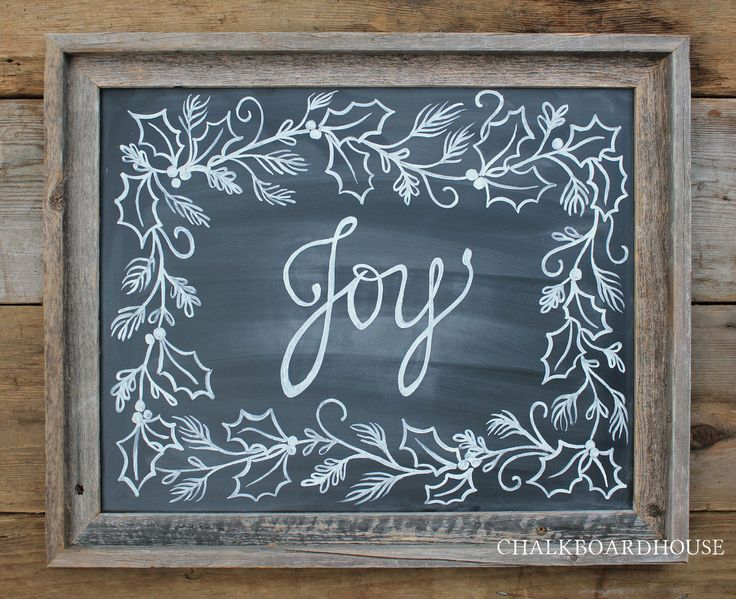 Hand Painted Chalkboard Joy Sign with Holly Border - 16x20 Unframed Chalkboard Art. via Etsy.