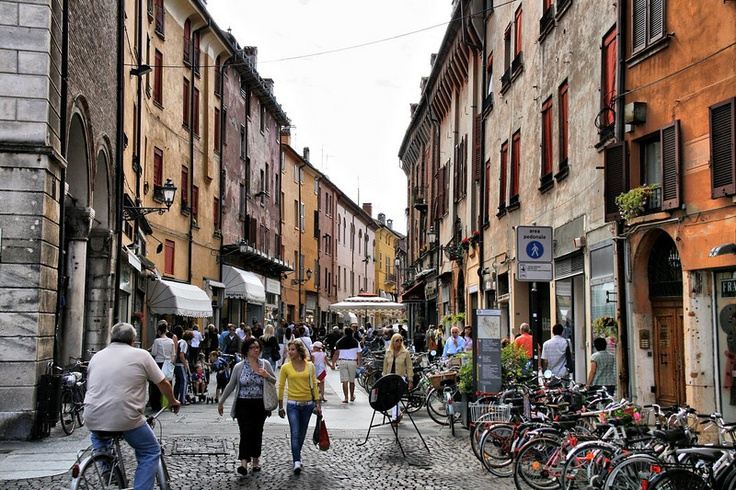 Ferrara, Italy. I'd live here. Seriously. Lucretia Borgia lived here. The murders weren't her fault. Any of them. There's a dungeon, a moat, lots of bikes, and pumpkin ravioli.