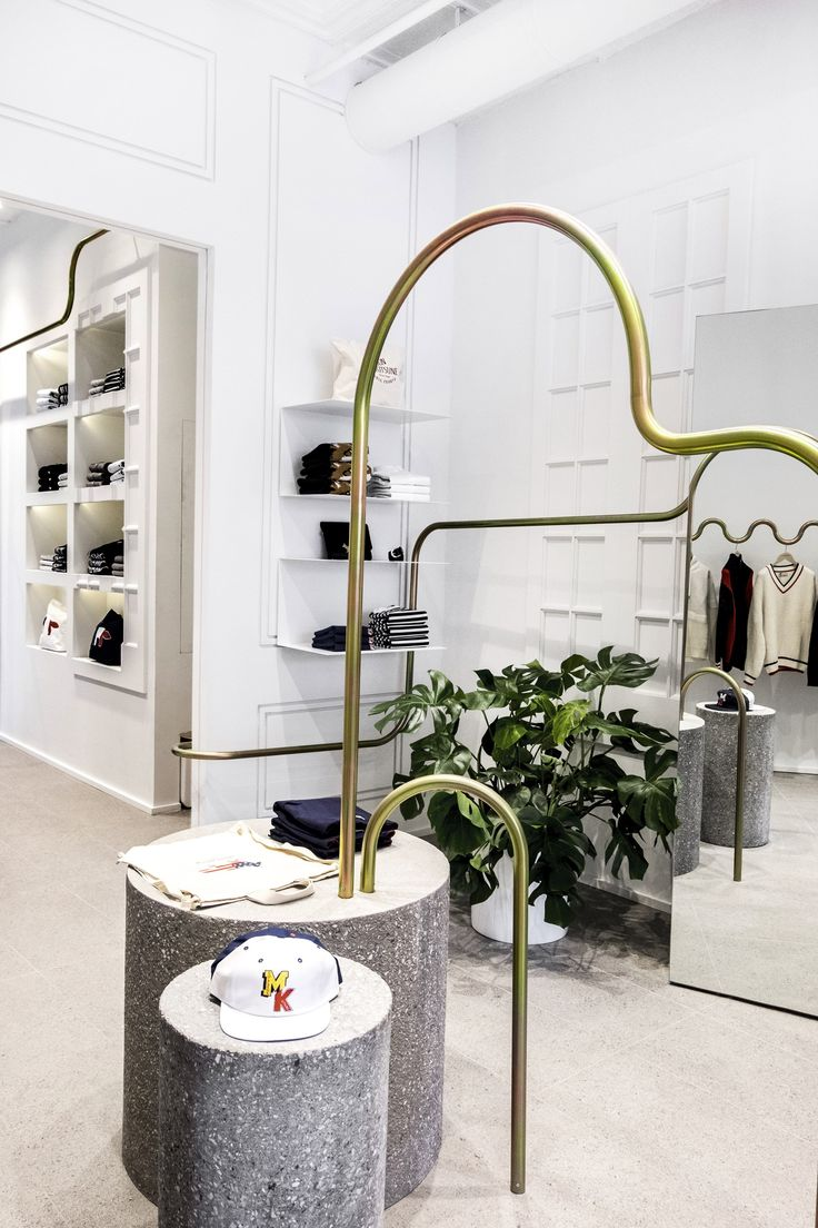 Mathieu Lehanneur snakes metal rails through Maison Kitsuné boutique in New York