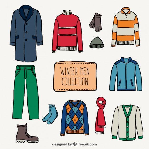 Winter men collection Free Vector
