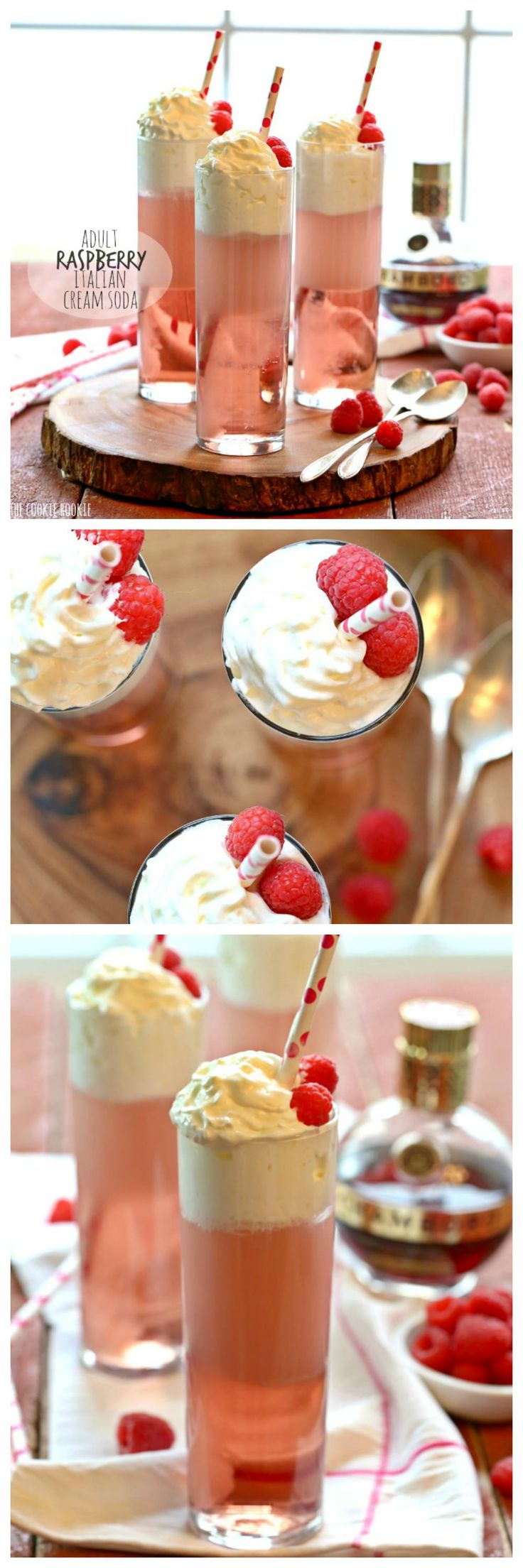 Adult Raspberry Italian Cream Sodas made with Chambord! So fun and delicious, perfect cocktail for Valentine's Day! | The Cookie Rookie