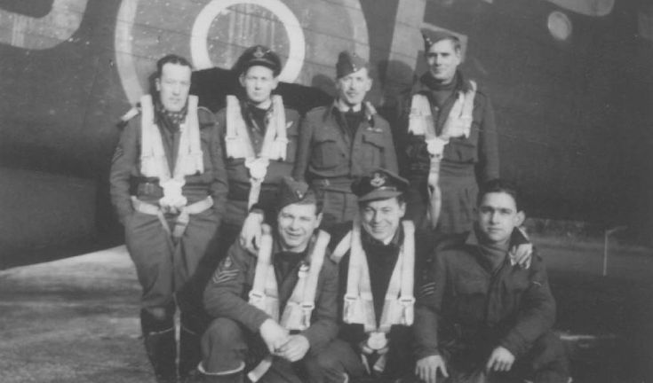 "405 Squadron, RCAF Lancaster III, PB-451, ""LQ-G"" F/O G. Peaker RCAF, Pilot; Sgt A. Kirkcaldy RAF, Flt/engineer; F/O E. Hayes RCAF, Navigator; F/O R. Butterworth RCAF, bomb aimer; Sgt R. Smith RAF, Visual bomb aimer; W/O2 R. Baker RCAF, Wireless operator; F/Sgt E. Perrault RCAF, Mid upper gunner; F/Sgt J. Adam RCAF, Rear gunner. Sgt Kirkcaldy at 36 was above the average age of operational airmen. F/O Butterworth was an American from Richville, New York."