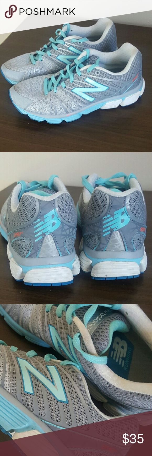 New Balance gray running shoes New Balance 890v5 running shoes gray/silver and baby blue. Others are $94 new on Amazon now. Very comfortable but i run with a lot of weight on the palm of my foot so they didnt fit my needs. New Balance Shoes Sneakers