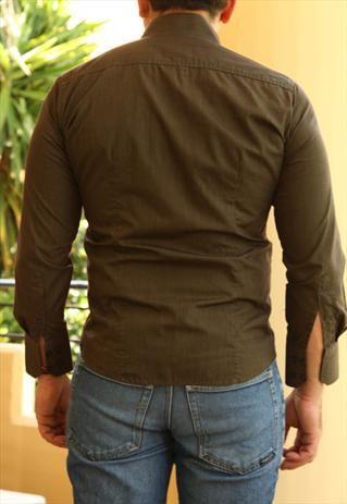 Tailor Made Shirt, Colarless, Olive Green/ Pink/ Grey/ Cuffs