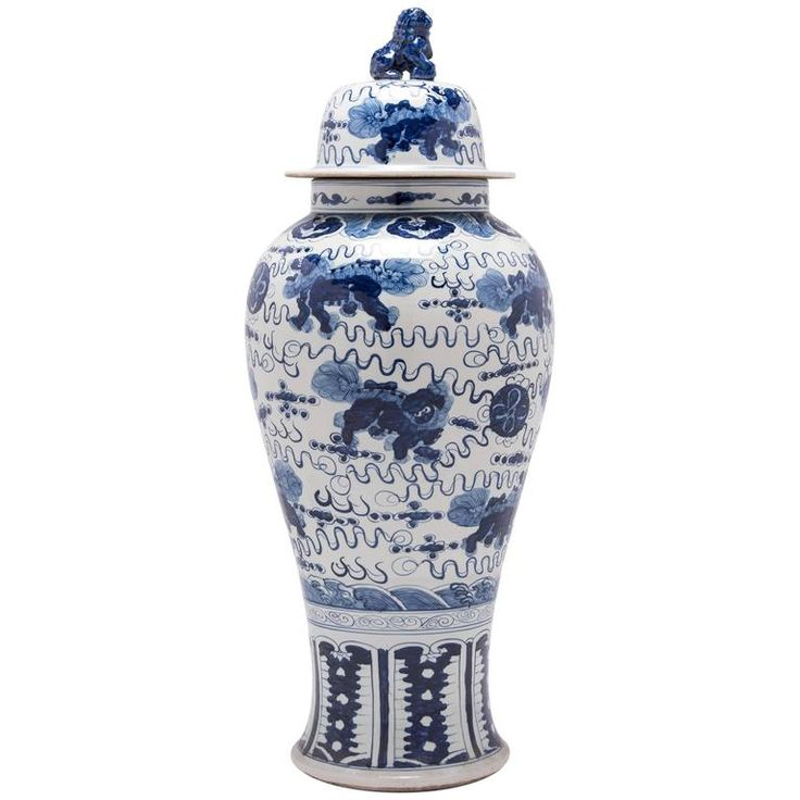 Chinese Blue and White Shizi Ginger Jar | From a unique collection of antique and modern ceramics at https://www.1stdibs.com/furniture/asian-art-furniture/ceramics/