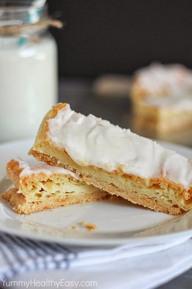 Swedish Pastry   delicious flaky crust topped with a moist layer of almond pastry, bake it and then spread with a quick almond frosting. It's a family favorite and a family tradition!