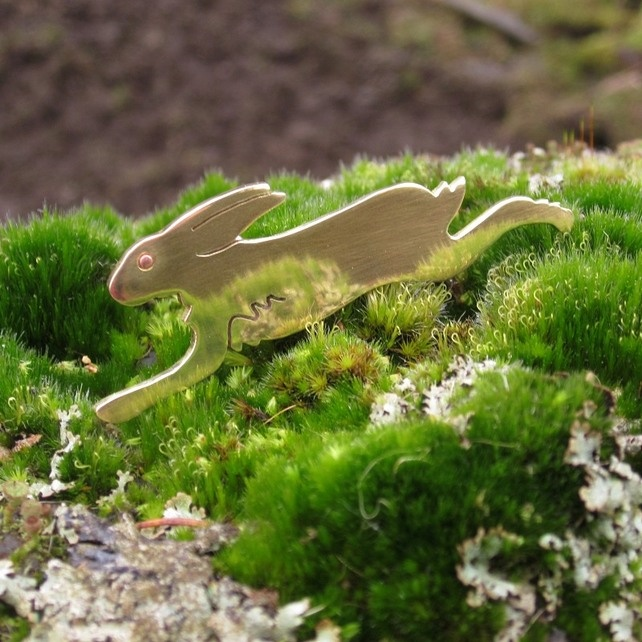 Hare Brooch in Brass  £25.00 by Hopeful Hare
