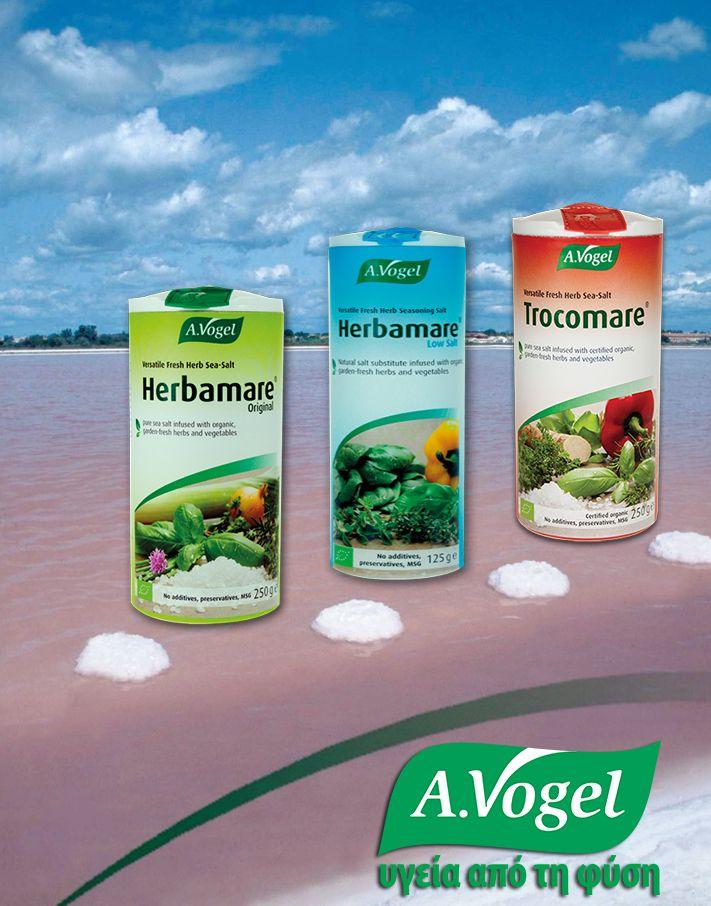 Μετά από πολυάριθμες δοκιμές και αλλαγές συνταγής για τον συνδυασμό φυσικού θαλασσινού αλατιού με βότανα και μυρωδικά φρέσκιας συγκομιδής και ελεγχόμενης βιολογικής καλλιέργειας, προέκυψε η μοναδική σύνθεση της σειράς Herbamare (Original,Trocomare & Diet,με πολύ χαμηλή περιεκτικότητα σε νάτριο),συνδυασμένα με φρέσκα συστατικά και βότανα,των οποίων οι χαρακτηριστικές ιδιότητες και τα φυσικά τους αρώματα,διατηρούνται στο αλάτι.  http://www.avogel.gr/product-finder/avogel/herbamare_original.php