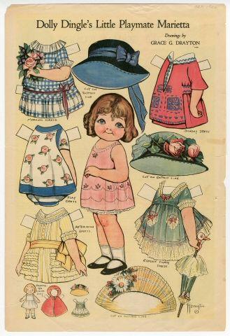 Dolly Dingle's Little Playmate Marietta  paper doll  1920  Artist:  Grace G. Drayton
