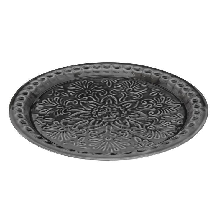 Metalen kaarsenplateau met bloemenmotief. Het blad is aan de onderkant voorzien van viltjes om krassen op meubels te voorkomen. Afmeting: Ø 36 cm - Kaarsenplateau Metaal