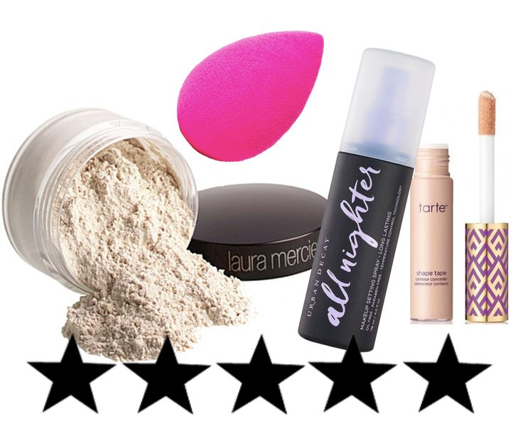 Reviews on popular, hyped-up products including the Beauty Blender, Tarte Shape Tape concealer, Urban Decay All-Nighter setting spray, and Laura Mercier setting powder.