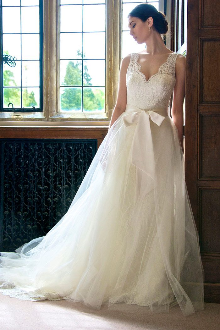 Lace and Tulle Wedding Dress by Augusta Jones | Rustic Wedding Ideas with Fairytale Style