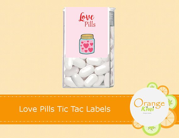 Love Pills Tic Tac Labels Valentine's Day Tic Tac