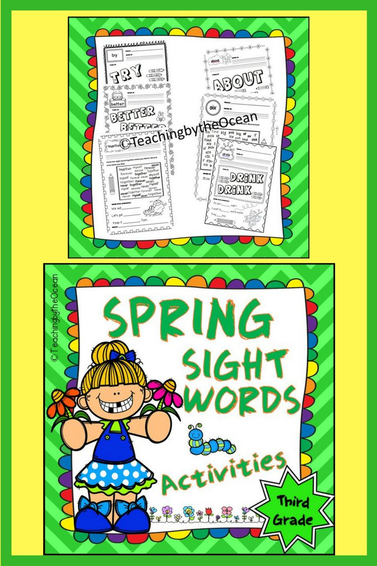 Let your students grow in their knowledge of sight words by getting great practice with this Spring Third Grade Sight Words pack. Students use a variety of skills with each practice page. They will write, color the sight word, they will also find the word among other sight words. Early finishers can color in the pictures. Included words are all the 41 sight words on the third grade Dolch list.