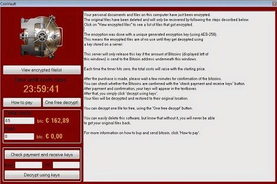 CoinVault Virus est un ransomware qui est introduit en autant d'ordinateurs que possible pour extorquer de l'argent des utilisateurs d'ordinateurs innocents. Jusqu'à présent ce jour, ce virus de ransome avait déjà été infecté utilisateurs de la Californie, Etats-Unis, la France et plusieurs autres pays européens. CoinVault Virus infiltre souvent sur le système ciblé par un cheval de Troie