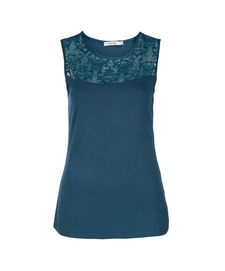 Sheer Embroidery Top, Teal, hi-res