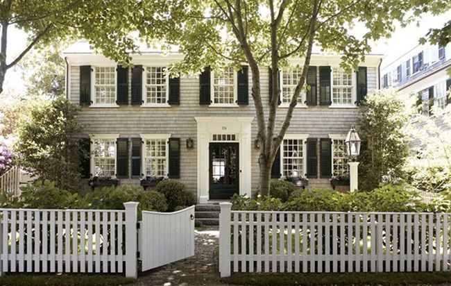 new england style, black shutters, white picket fence