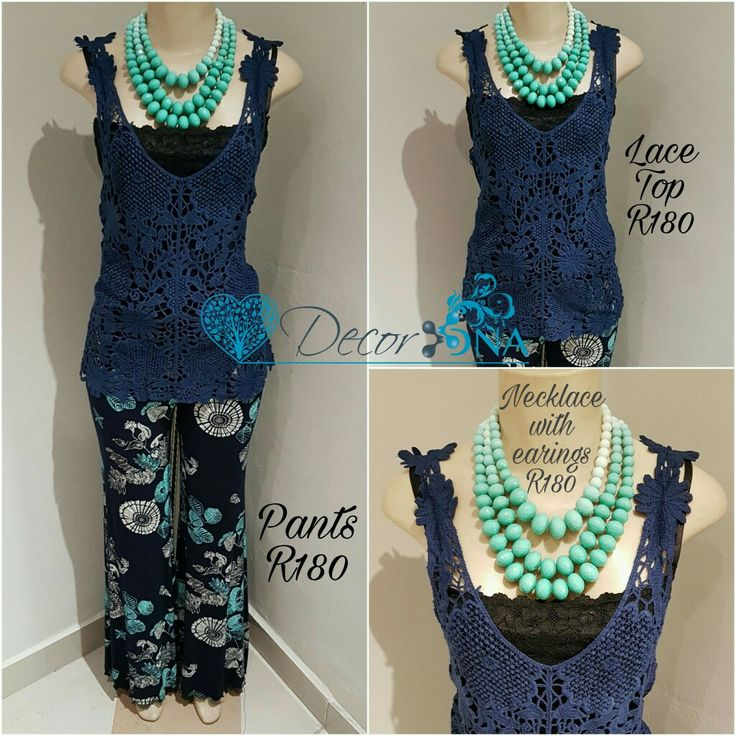 Fashion at DécorDNA.  Fashion pants and a lace top with a beads necklace.  #fashion #pants #top #style #neclace #decordna