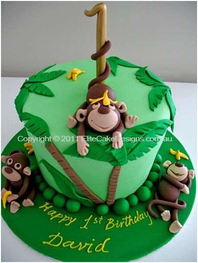 Birthday Cake Ideas Monkey : 158 best Monkey Cakes images on Pinterest Monkey cakes ...