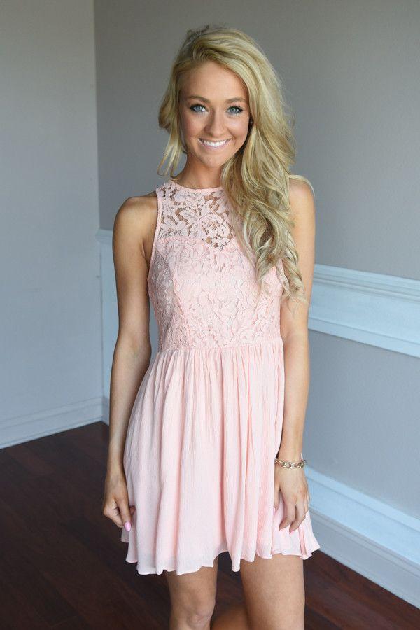 Peach Lace Dress – The Pulse Boutique