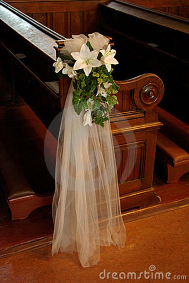 Silk flowers and greens make ideal pew decorations, can be made weeks ahead of time-stored on cardboard sheets until wedding date.