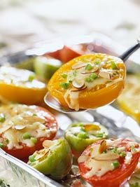 Grilled Tomato Melts This simple side dish of tomato slices, cheese, sweet