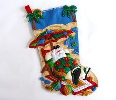 Christmas Stocking Finished Bucilla Stocking Personalized Family Stocking Felt Christmas Stocking Coolin' It Santa Stocking Gift for Him Her by HometownUSA on Etsy