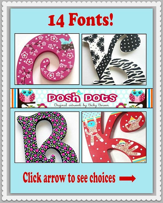 Wooden Letters Nursery Letters Hanging Letters Painted by PoshDots